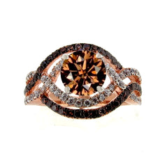 Unique Halo Infinity 1 Carat Chocolate Brown Smoky Quartz Engagement Ring with Rose Gold, White & Brown Diamond Accent Stones, Anniversary Ring - SQ94645