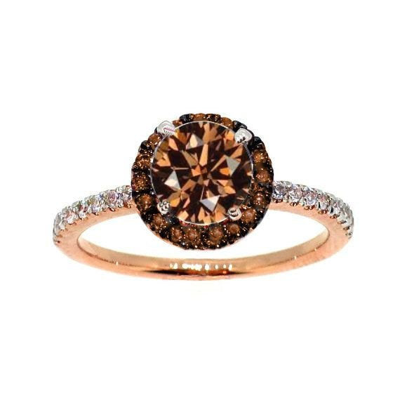 1 Carat Brown Diamond Floating Halo Rose Gold, White & Brown Diamond Engagement Ring, Solitaire, Anniversary Ring - BD94639