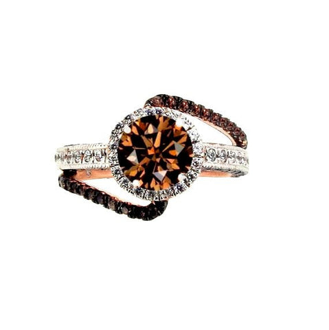 1 Carat Fancy Brown Diamond Unique Floating Halo, Rose Gold, Brown & White Diamond Engagement Ring, Anniversary Ring - BD94649