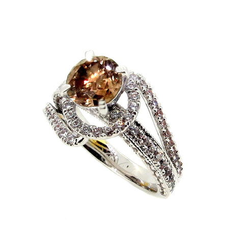 1 Carat Fancy Brown Diamond Engagement Ring, Halo Design and Unique Double Shanks, Anniversary Ring - BD85038