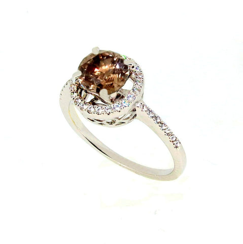 1 Carat Chocolate Brown Diamond Engagement Ring, White Diamond Accent Stones, Anniversary Ring - BD85037