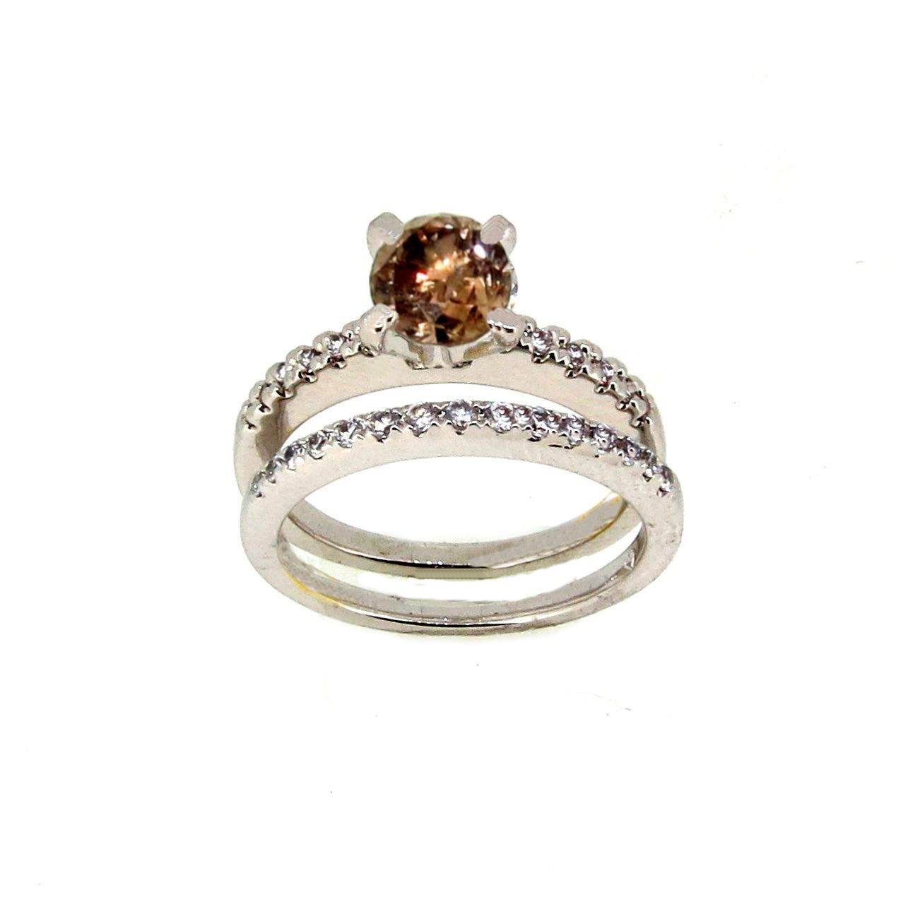 1 Carat Chocolate Brown Diamond Solitaire & White Diamond Accent Engagement Ring and Wedding Band Set, Anniversary Ring Set - BD76340