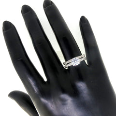 Unique Solitaire Forever Brilliant Moissanite Engagement / Wedding Set, 1 Carat Forever Brilliant Moissanite & .45 Carat Diamonds - FB69879