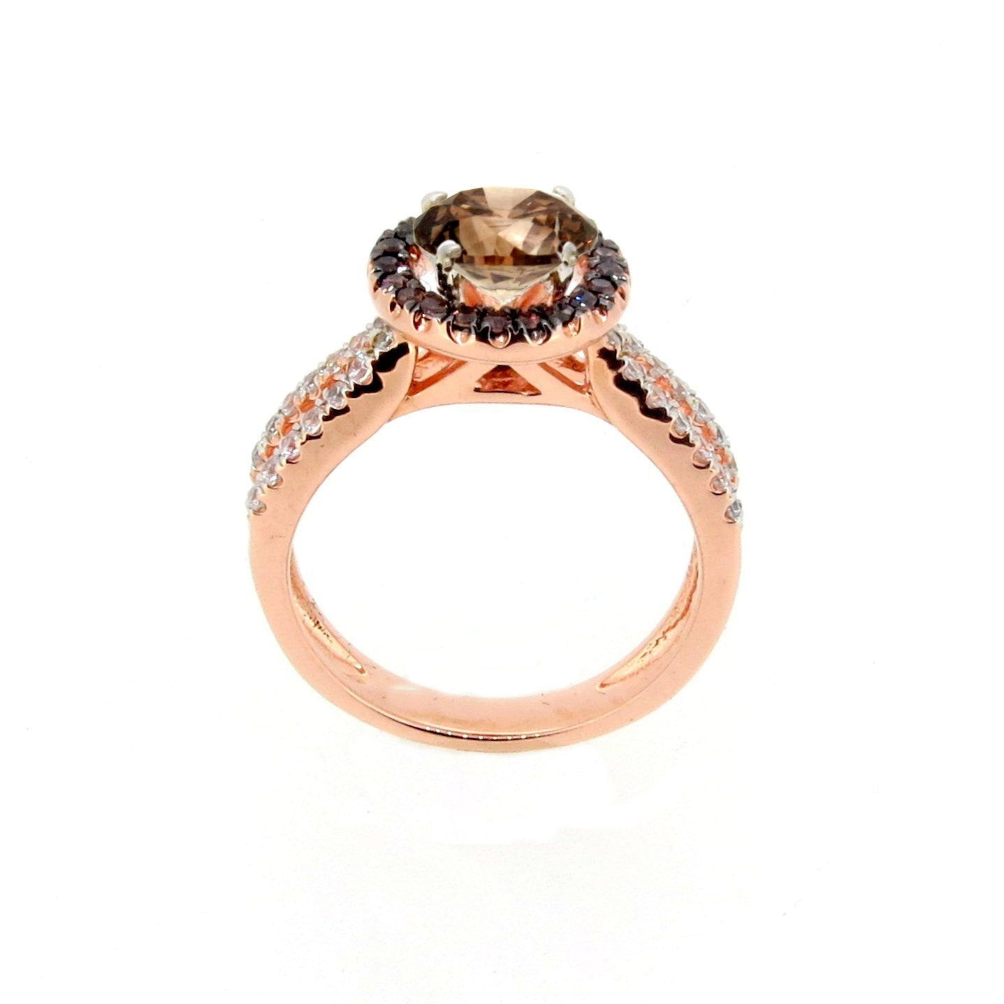 1 Carat Brown Diamond Floating Halo Rose Gold, White & Brown Diamond Engagement Ring, Split Shank, Anniversary Ring - BD94656