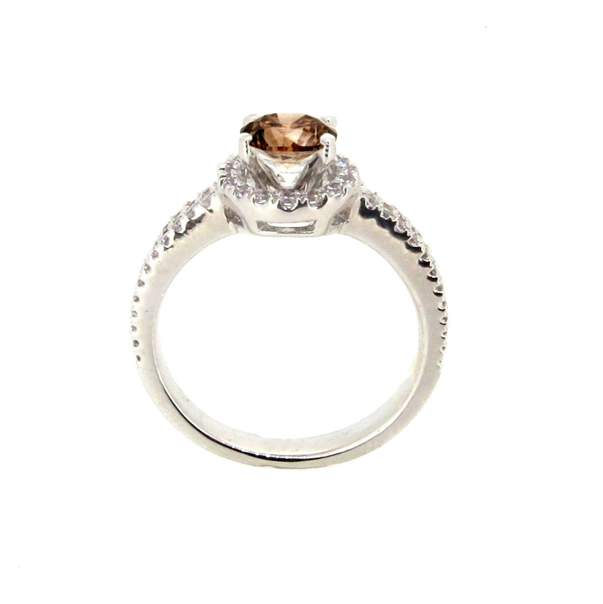 Floating Halo Engagement Ring, 1 Carat Fancy Brown Diamond Center Stone with Diamond Accent Stones, Anniversary Ring - BD85034