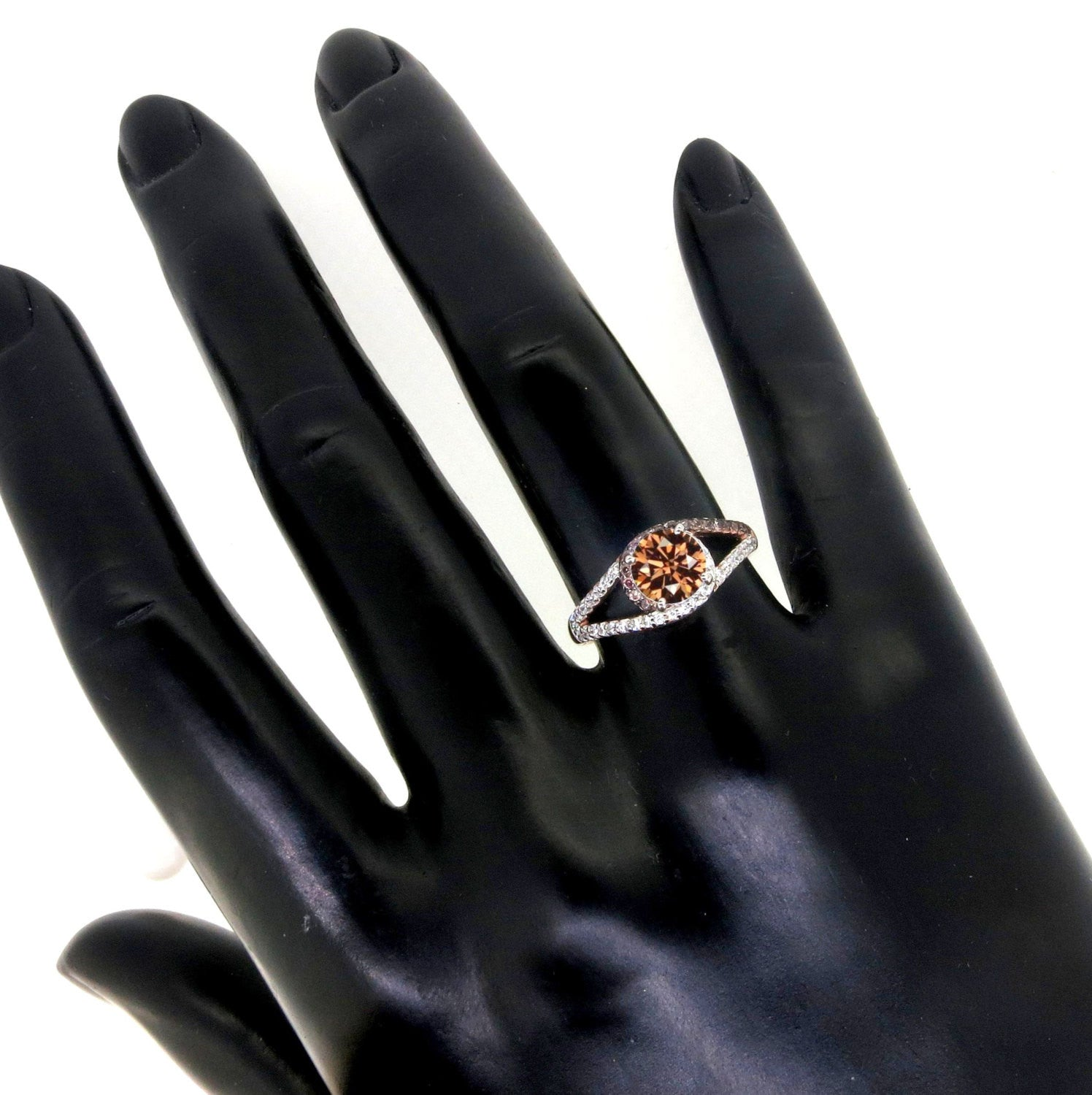 Unique 1 Carat Fancy Brown Smoky Quartz Floating Halo Rose Gold, White & Brown Diamond Engagement Ring, Split Shank, Anniversary Ring - SQ94618ER