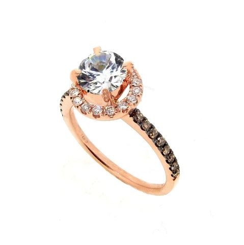 1 Carat Forever Brilliant Moissanite & .32 Carat Diamonds Halo, Fancy Brown Diamond Accent Stones, Rose Gold, Unique Engagement Ring - FB94639A