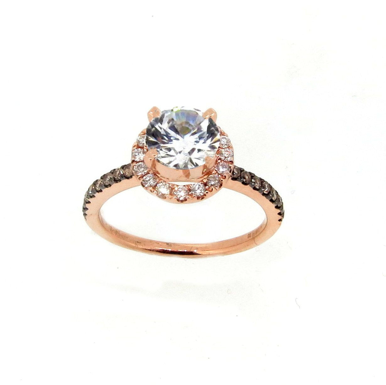 1 Carat Forever Brilliant Moissanite & .32 Carat Diamonds Halo, Chocolate Brown Diamond Accent Stones, Rose Gold, Unique Engagement Ring - FB94639A