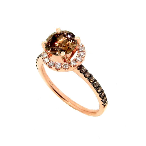1 Carat Chocolate Brown Smoky Quartz Halo, White Diamond Accent Stones, Rose Gold, Engagement Ring, Anniversary Ring - SQ94639A