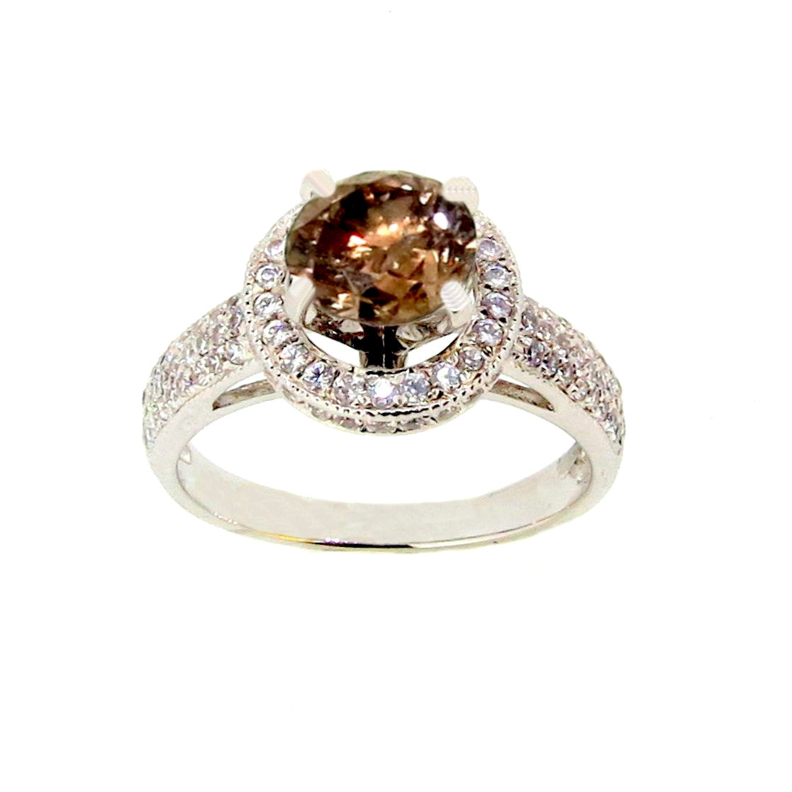 1 Carat Chocolate Brown Diamond, Floating Halo, Engagement Ring, Anniversary Ring - BD85030