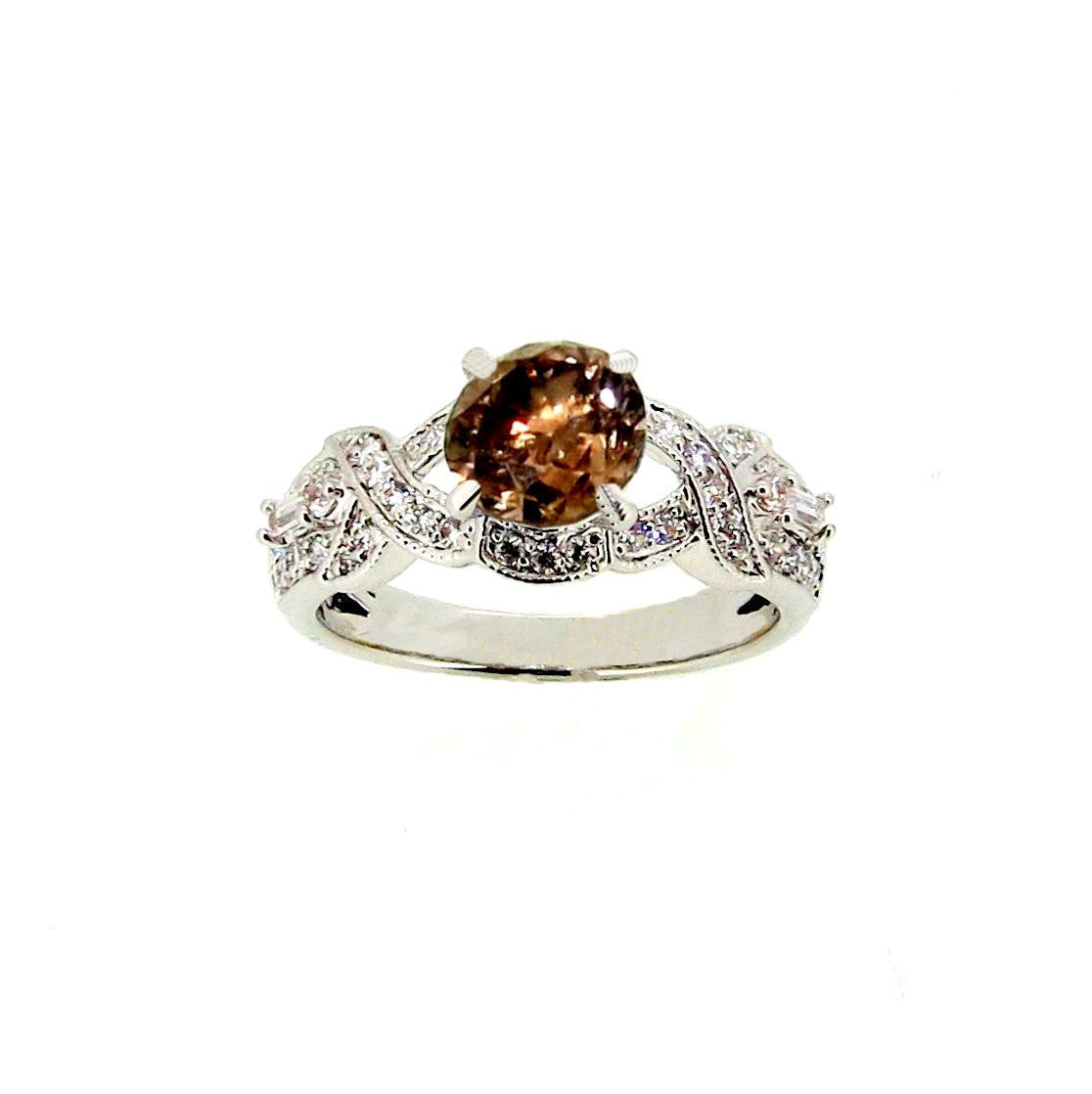 Unique Infinity Design 1 Carat Fancy Color Brown Diamond with White Diamond Accent Engagement Ring, Anniversary Ring - BD73039