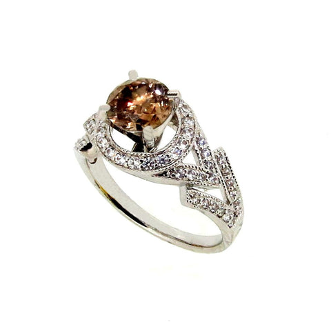 1 Carat Fancy Brown Diamond, Engagement Ring, Anniversary Ring, Floating Halo - BD73805
