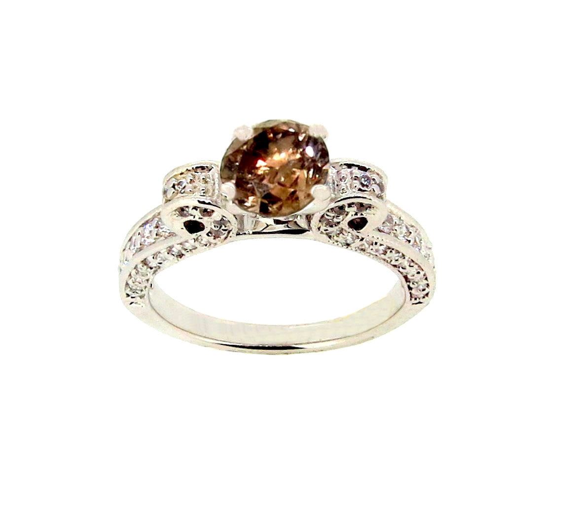 Unique Engagement Ring, 1 Carat Fancy Color Brown Diamond, Anniversary Ring - BD70582