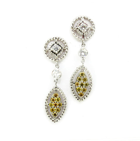 18k White Gold Dangle Diamond Earrings