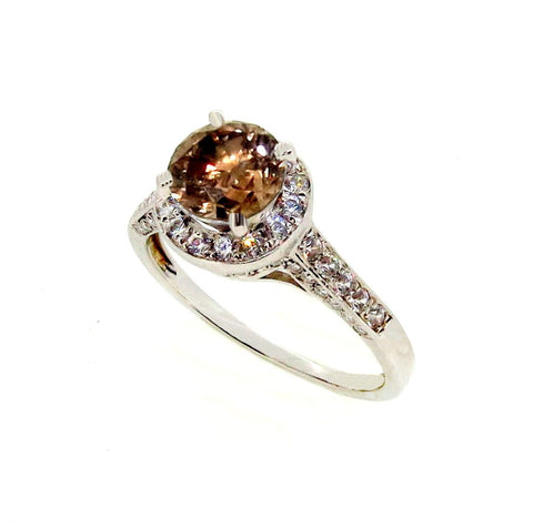 1 Carat Fancy Brown Diamond Floating Halo White Gold, White Diamond Accent Stones, Engagement Ring, Anniversary Ring - BD85036