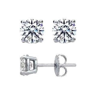2 Carat Total Forever One Moissanite Stud Earrings on 14k White or Yellow Gold, 6.5 mm Each Stud