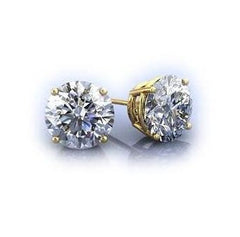 2 Carat Forever Brilliant Moissanite Stud Earrings on 14k White or Yellow Gold, 6.5 mm Each Stud