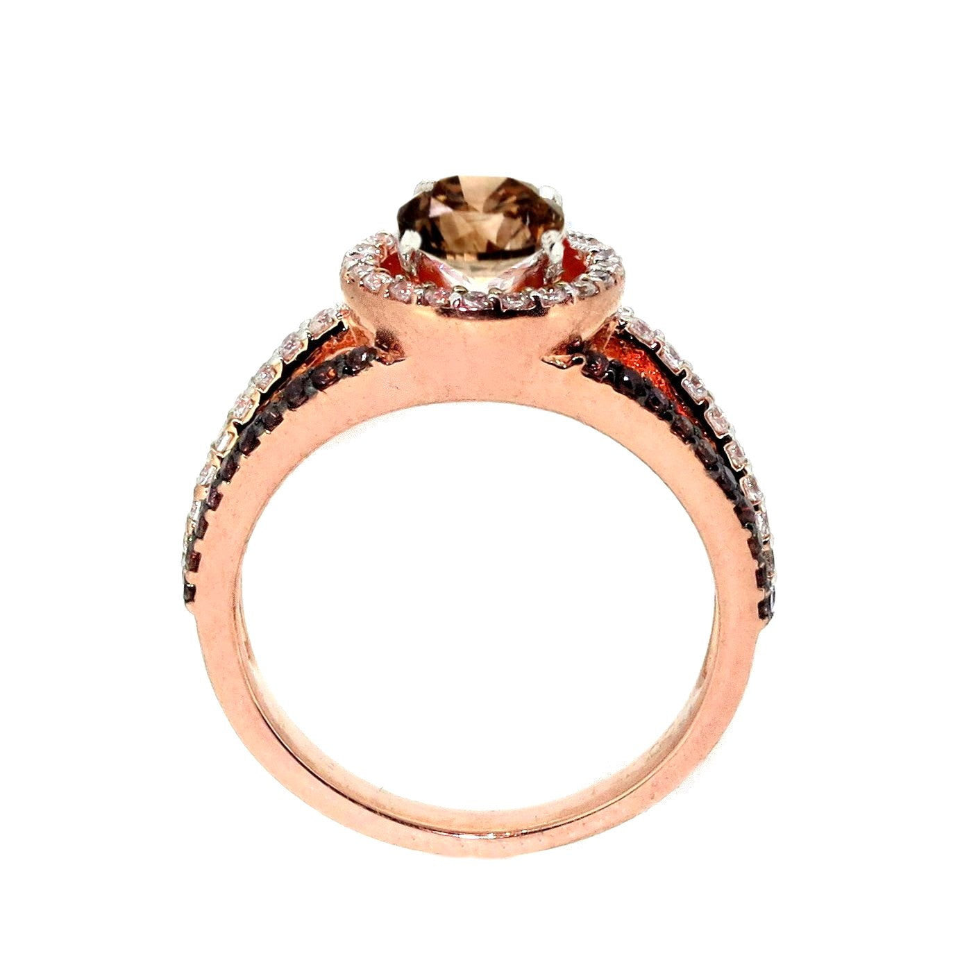 1 Carat Brown Diamond Floating Halo Engagement Ring , Rose Gold, Unique White & Brown Diamonds Accent Stones, Anniversary Ring - BD94646