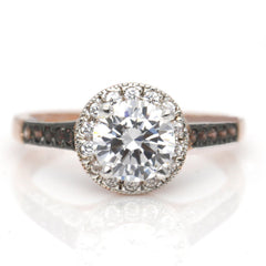 Moissanite Engagement Ring, Unique 1 Carat Floating Halo Rose Gold, White & Fancy Color Brown Diamonds, Forever Brilliant Moissanite. - FB94613
