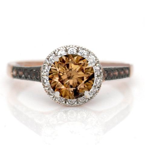 1 Carat Brown Diamond Floating Halo Rose Gold, White & Brown Diamond Accent Stones Engagement Ring, Anniversary Ring - BD94613ER