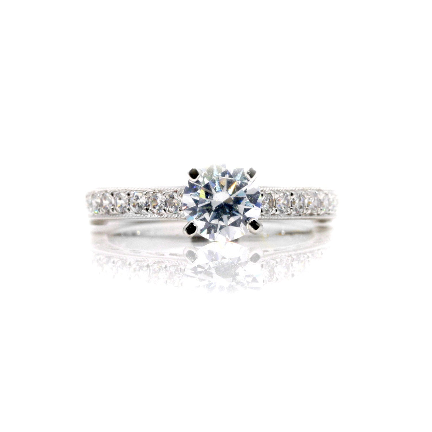 Moissanite Engagement Ring Wedding Set, Unique Style With 1 Carat Forever Brilliant Moissanite & 1.0 Carat Diamonds - FB76335