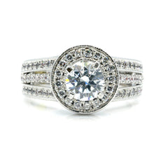 Semi Mount For 1 Carat Center Stone Engagement Ring, Floating Halo, 1 Carat Diamonds, Anniversary Ring - 85039