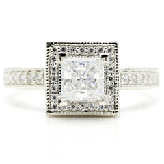 Engagement Ring Setting Semi Mount, Unique Square Halo for 1 Carat Princess Cut Center Stone, .65 Carat Diamonds - 62512