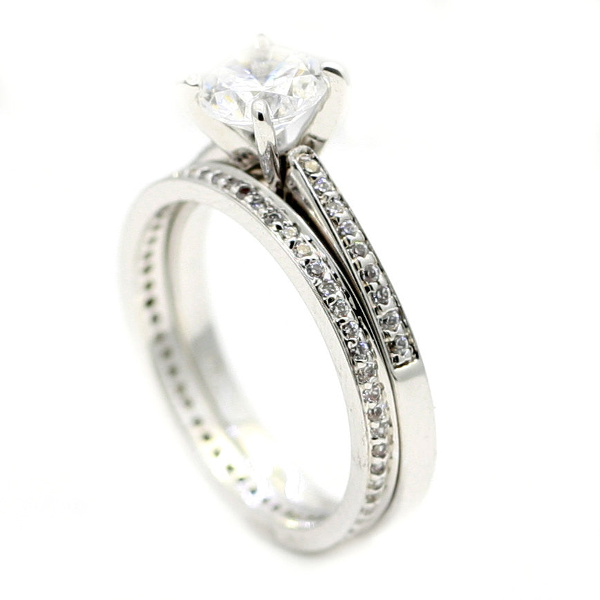 Semi Mount Engagement & Wedding Ring Set, With .30 Carat Diamonds, Anniversary Ring Set, For 1.0 Carat Round Stone - 69781