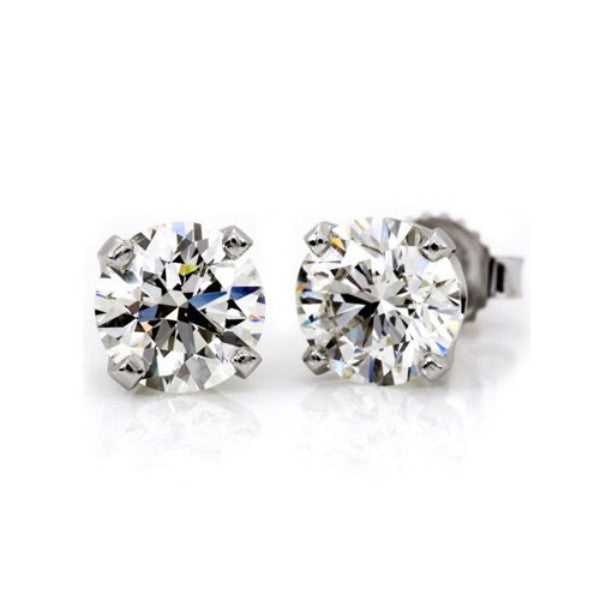 3 Carat Diamond Stud Earrings on 18k White Gold, 1.50 Carat 7.5 mm Each Stud GIA Certificate