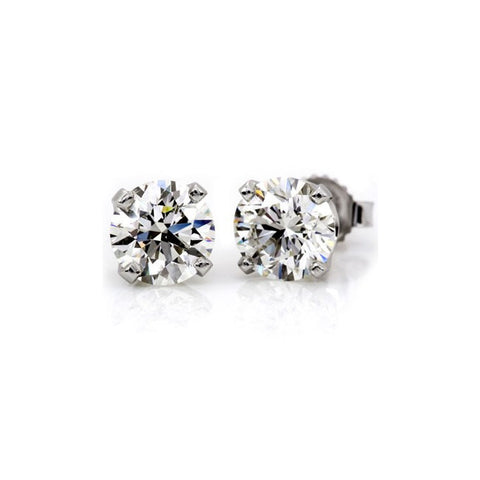 2 Carat Diamond Stud Earrings on 14k White Gold, 1.00 Carat 6.5 mm Each Stud GIA Certificate