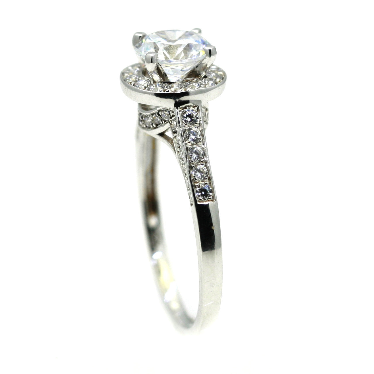 Unique Semi Mount Halo Engagement Ring, With .55 Carat Diamonds Accent Stones, For 1 Carat Round Stone, Anniversary Ring - 85036