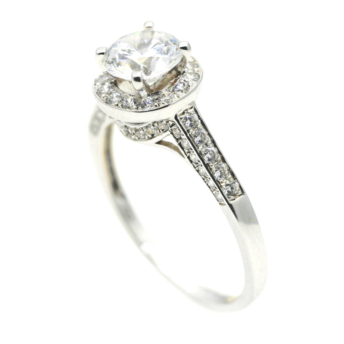 Unique 1 Carat Halo Diamond Engagement Ring, With .55 Carat Diamonds Accent Stones Anniversary Ring - WD85036
