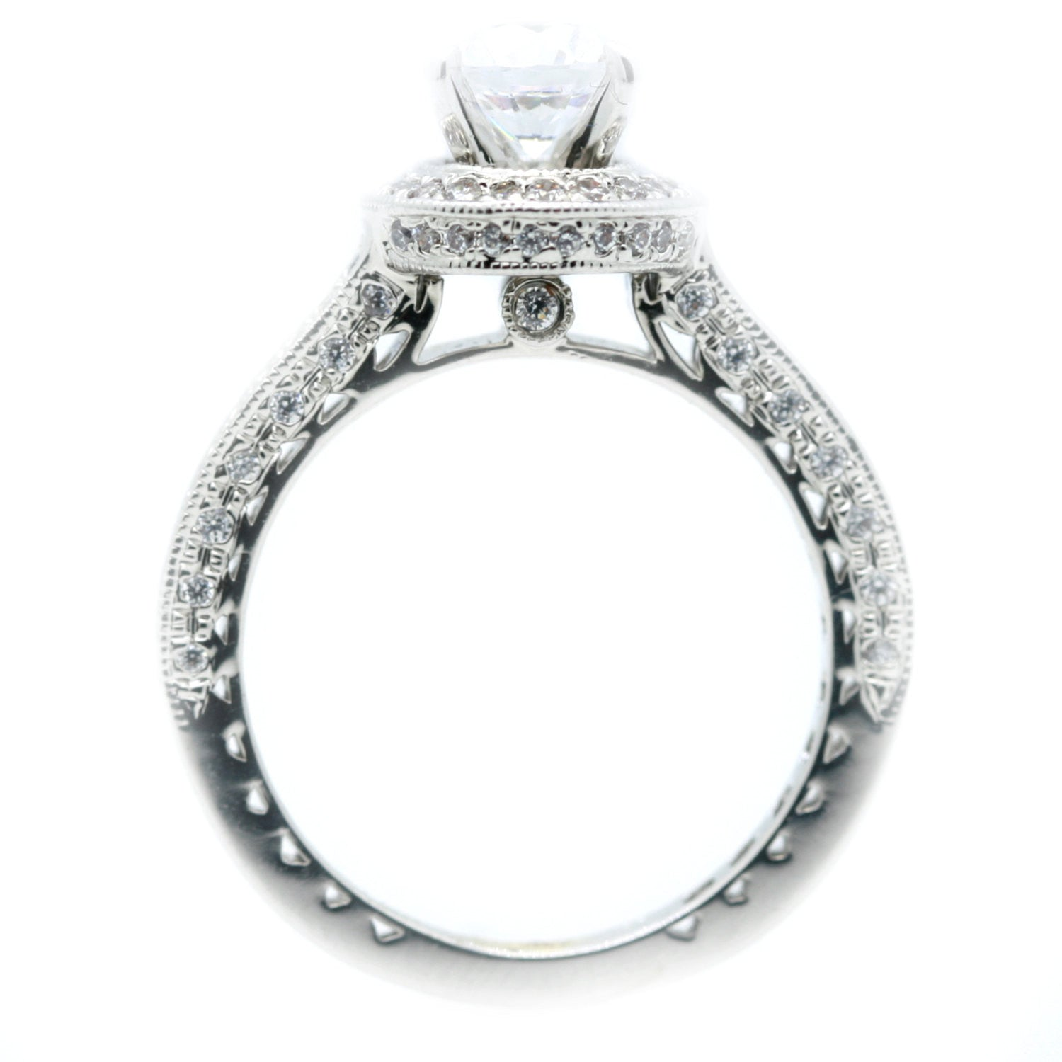 1 Carat Moissanite Center Stone, .75 Carat Diamonds Accent Stones, Unique Halo Engagement Ring, Anniversary Ring - FB76521