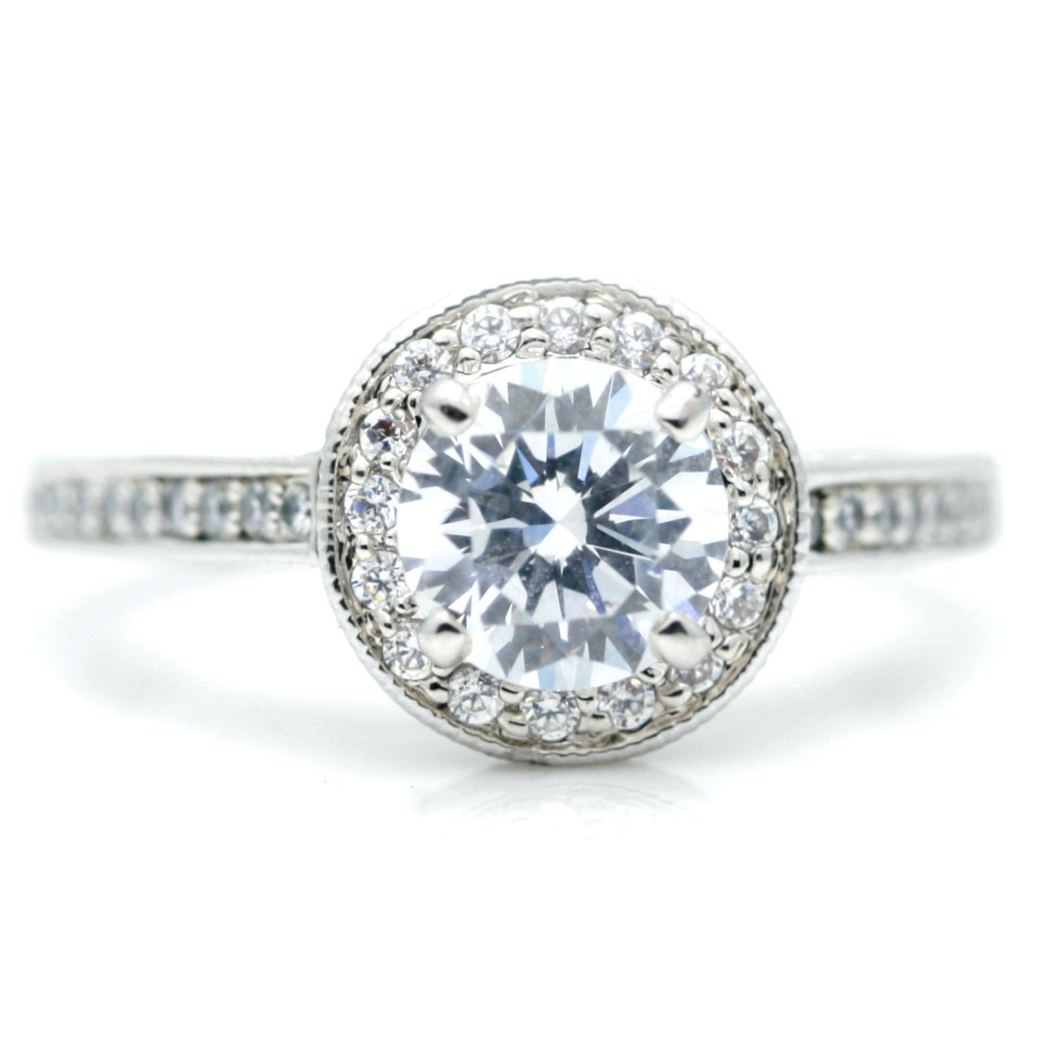 1 Carat Moissanite Center Stone, .75 Carat Diamonds Accent Stones, Unique Halo Engagement Ring, Anniversary Ring - FB73045