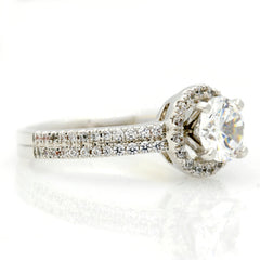 Floating Halo Double Shank Engagement Ring, 1 Carat Forever Brilliant Moissanite & .50 Carat Diamond, Unique Anniversary Ring - FB85034ER