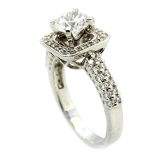 Moissanite Engagement Ring, Unique Square Halo 2 Row Shank With 1 Carat Forever Brilliant Moissanite & .55 Carat Diamonds - FB73086