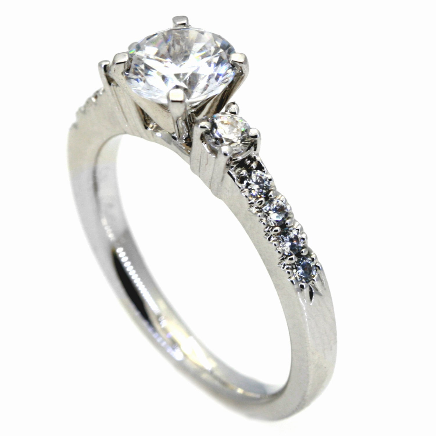14 Karat White Gold Engagement Ring, Unique, For 1 Carat Round Center Stone,