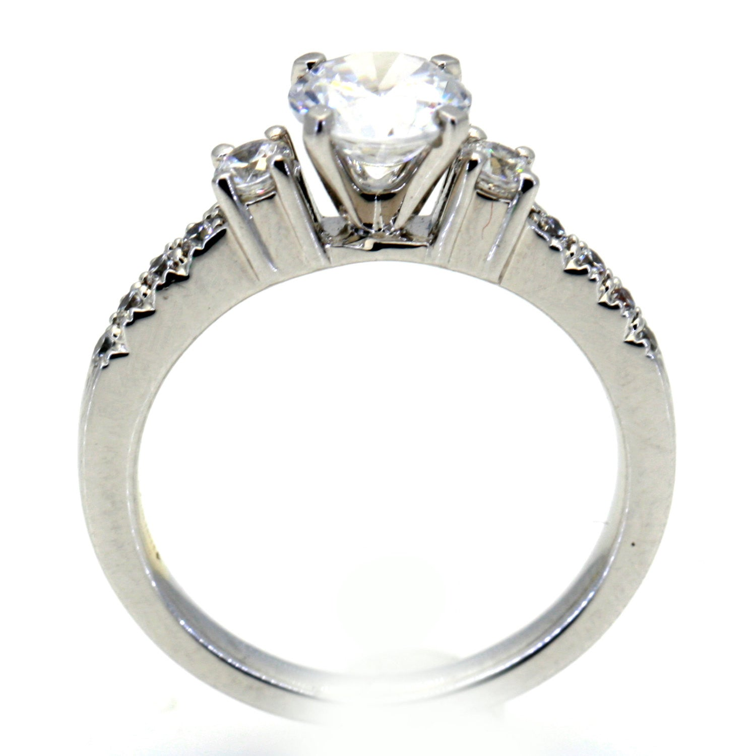 14 Karat White Gold Engagement Ring, Unique, For 1 Carat Round Center Stone, With .35 Carat Diamonds, Anniversary Ring, Semi Mount - 76302