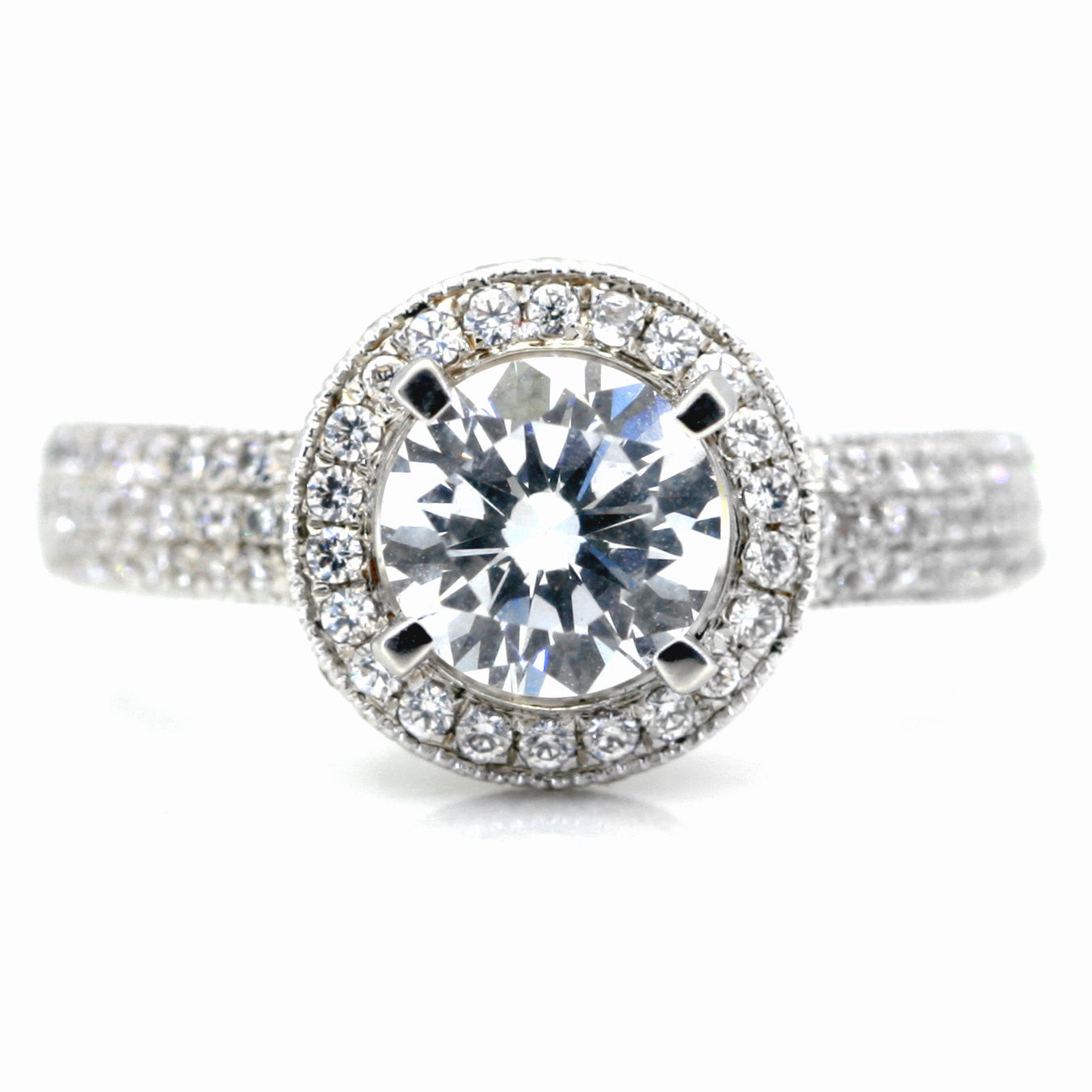1 Carat Forever Brilliant Moissanite & .45 Carat Diamonds, Unique Floating Halo Engagement Ring, Anniversary Ring - FB85030