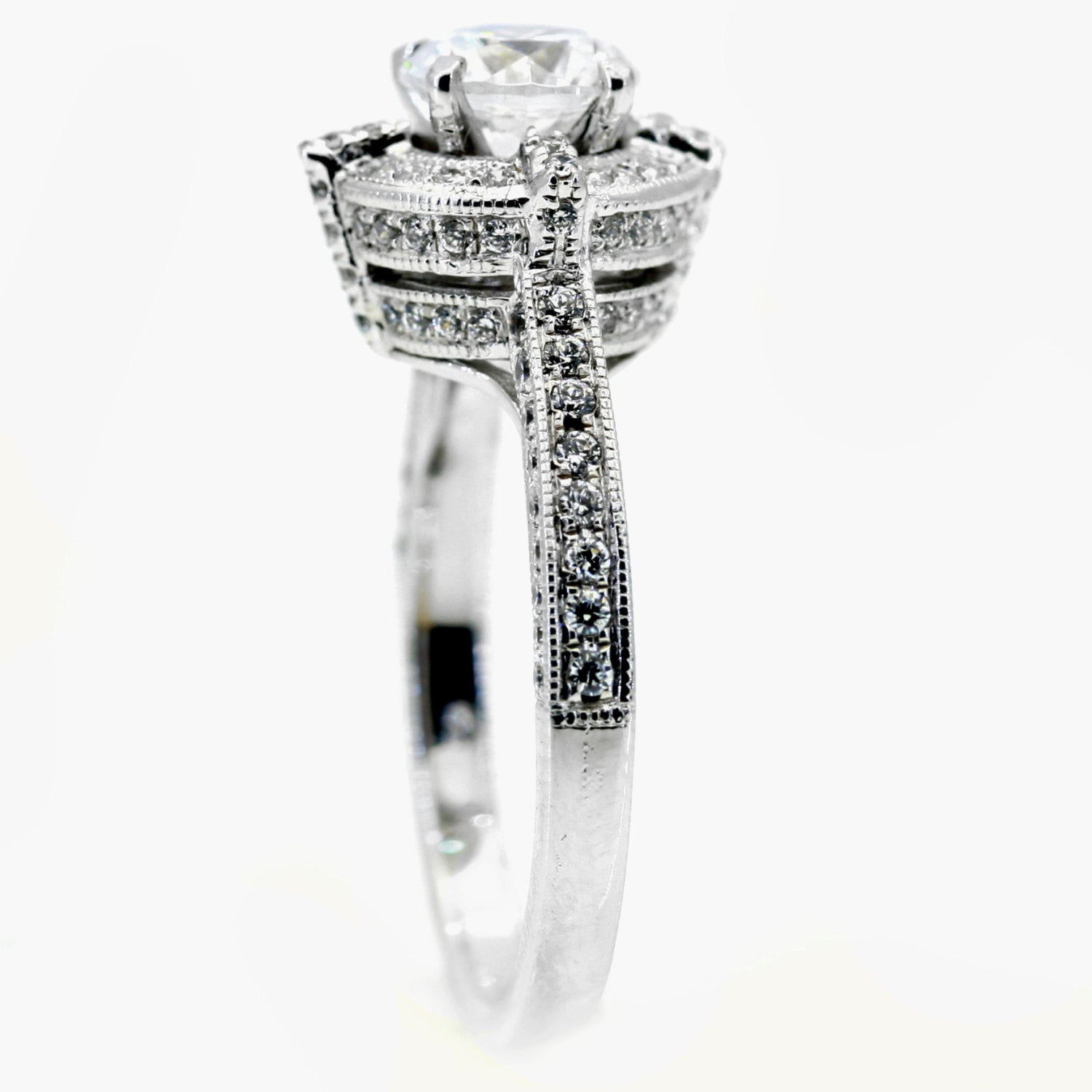 1 Carat Forever Brilliant Moissanite & .80 Carat Diamonds Unique Floating Halo Engagement Ring, Anniversary Ring, Art Deco - FB85035