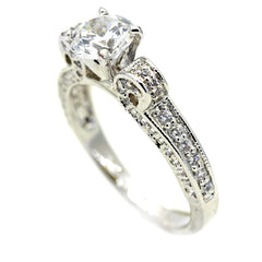 Moissanite Engagement Ring, Unique Solitaire 1 Carat Forever Brilliant Moissanite & .55 Carat Diamonds, Anniversary Ring - FB70582