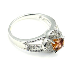Floating Halo Engagement Ring, 1 Carat Chocolate Color Brown Diamond,  with Diamond Accent Stones, Anniversary Ring - BD73096