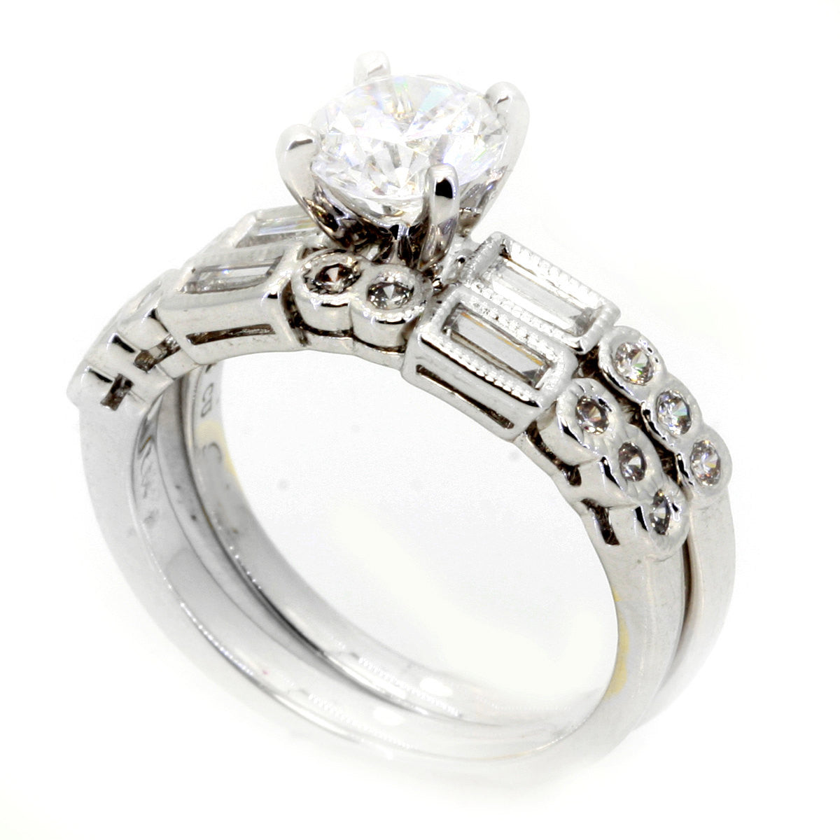 Semi Mount Engagement Ring Wedding Set, Unique Art Deco Style For 1 Carat Center Stone, Has 1 Carat Diamonds - 73080