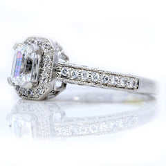 Emerald Cut Forever Brilliant Moissanite And Diamonds Engagement Ring - FB50850