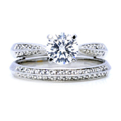 Diamond Engagement and Wedding Band Setting for 1 Carat Center Stone, Ring Set, Semi Mount - 12040