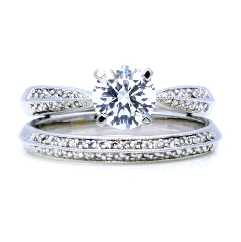 Diamond Engagement Ring and Wedding Set, Unique 1 Carat Forever Brilliant Moissanite Center Stone & .35 Carat Diamonds, Anniversary Ring - FB12040