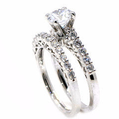 Semi Mount Engagement/ Wedding Ring Set, For 1 Carat Round Center Stone, With 1 Carat Total Diamonds, Anniversary Ring - 76339