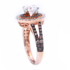 Floating Halo Rose Gold, White & Fancy Color Brown Diamonds, 1 Carat Forever Brilliant Moissanite Engagement Ring, Anniversary Ring - FB94612