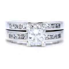 1 Carat Princess Cut Forever Brilliant Moissanite Center Stone Engagement/Wedding Set, .90 Carat Princess cut Diamonds - FB76342
