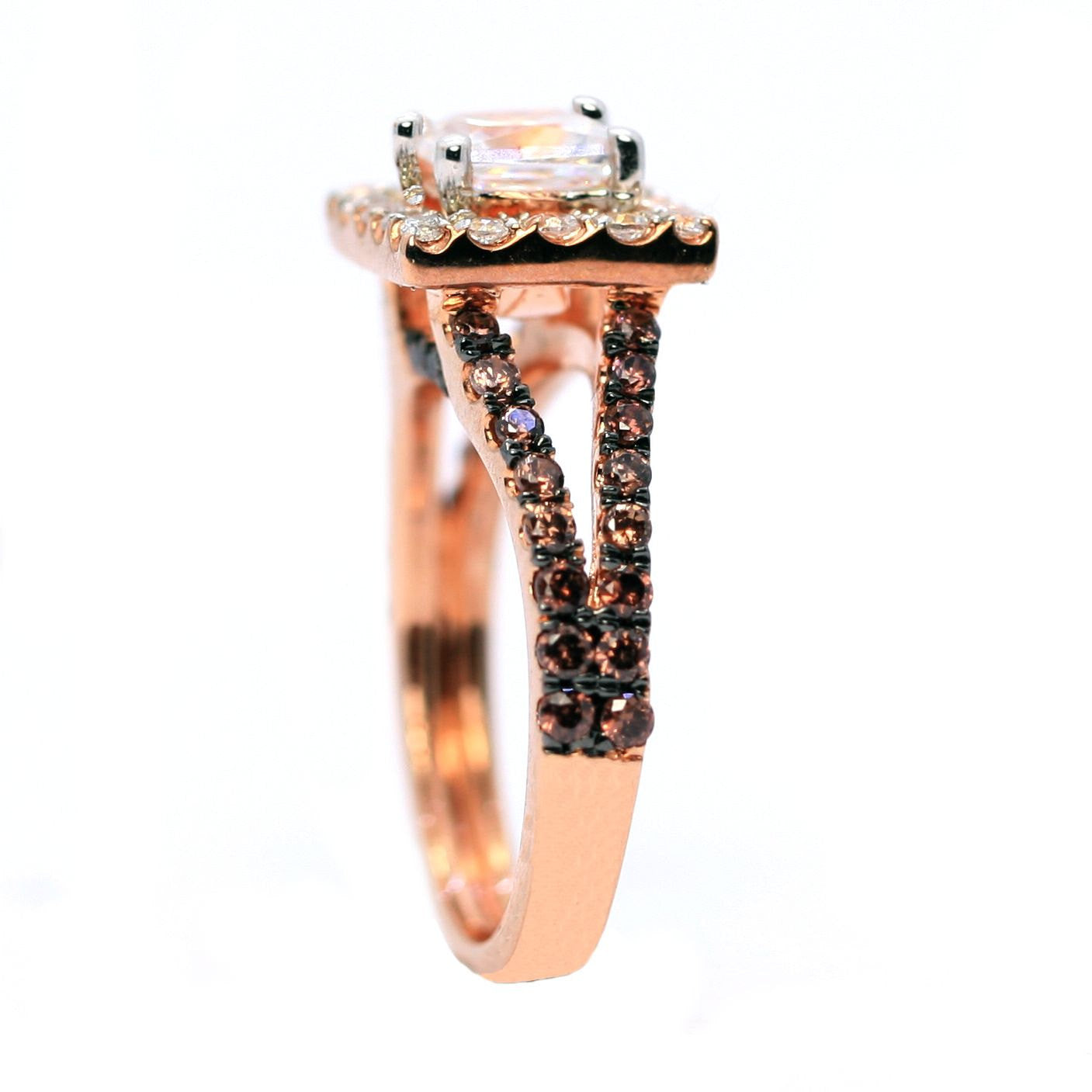 Floating Halo Split Shank Rose Gold, White & Chocolate Color Brown Diamonds,Semi Mount Setting For 1 Carat Princess Cut Diamond  - 94623